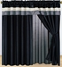 Black Pleating Curtain Set w/ Valance/ Tiebacks / Sheers