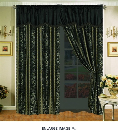 Black Regalia Curtain Set w/ Valance/Sheer/Tassels