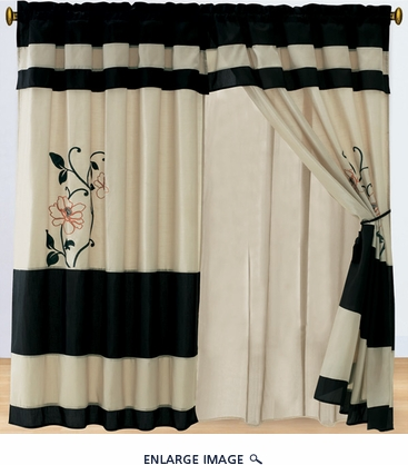 Black Rose Applique Curtain Set w/ Valance/Sheer/Tassels