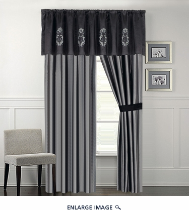 Blanche Black and Gray Curtain Set Gray