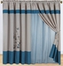 Blue and Beige Floral Embroidered Curtain Set w/ Valance/Sheer/Tassels