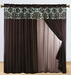 Blue and Coffee Flocked Curtain Set