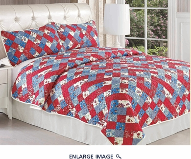 Blue and Red Blooming Bedspread Quilt Set Cal King