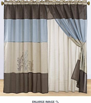 Blue and Tan Embroidered Curtain Set w/ Valance/Sheer/Tassels