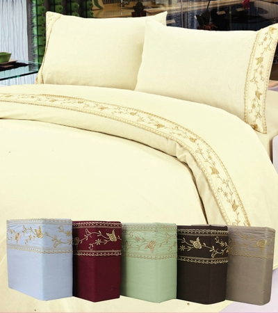 Blue Cotton 450 Thread Count Embroidery Sheet Set King