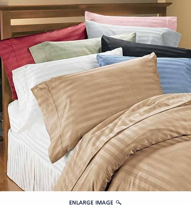 Blue Egyptian Cotton 380 Thread Count Sateen Sheet Set Queen