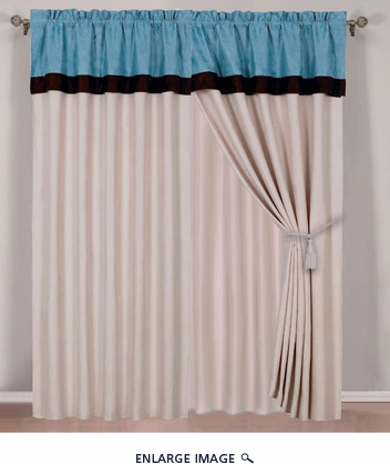 Blue Micro Suede Curtain Set