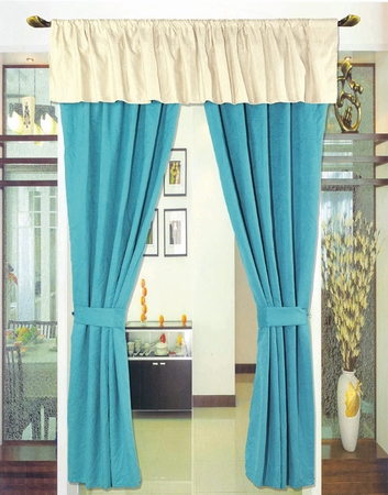Blue Oxford Micro Suede Curtain Set w/ Drapes/ Valance /Tassels