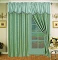 Blue Regalia Curtain Set w/ Valance/Sheer/Tassels