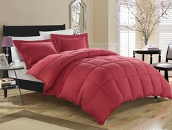 Brick Red Down Alternative Comforter Set Full/Queen
