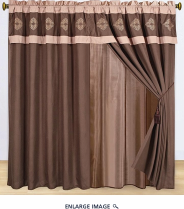 Brown Embroidered Quilted Curtain Set w/ Valance/Sheer/Tassels