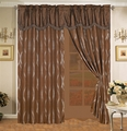 Brown Wave Curtain Set w/ Valance/Sheer/Tassels