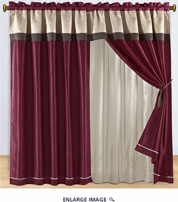 Burgundy and Brown Floral Embroidered Curtain Set w/ Valance/Sheer/Tassels