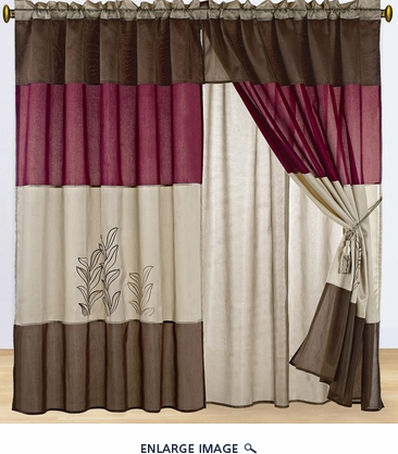 Burgundy and Tan Embroidered Curtain Set w/ Valance/Sheer/Tassels