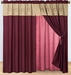 Burgundy and Tan Floral Embroidered Curtain Set w/ Valance/Sheer/Tassels