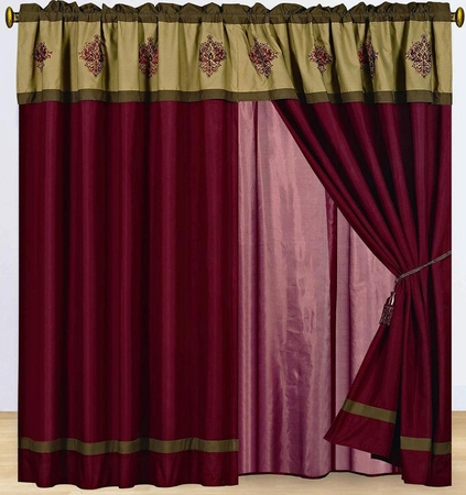 Burgundy Embroidered Medallion Curtain Set w/ Valance/Sheer/Tassels