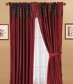 Burgundy Floral Flocking Stripes Curtain Set w/ Valance/Sheer