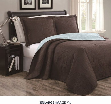 Cambria Chocolate/Blue Reversible Bedspread/Quilt Set Queen