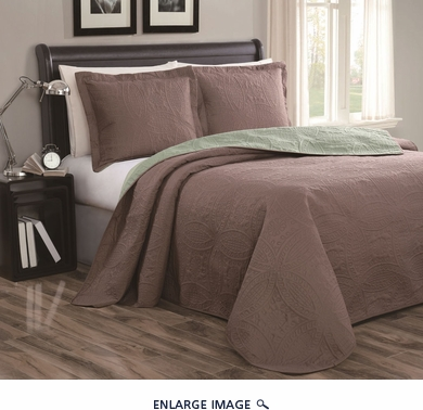 Cambria Taupe/Sage Reversible Bedspread/Quilt Set King