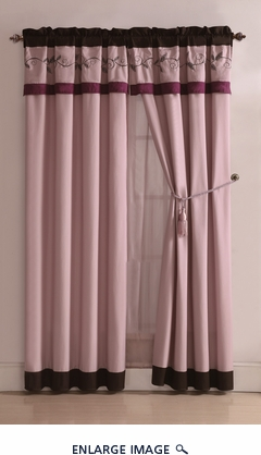Candice Purple and Coffee Embroidered Curtain Set