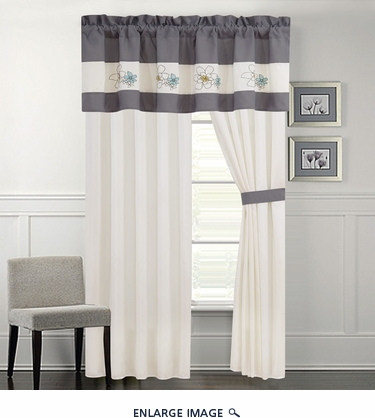 Carley Gray and Ivory Curtain Set