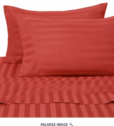 Carmine 500 Thread Count Damask Stripe Cotton Sheet Set Queen