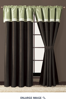Catalina Embroidered Palm Curtain Set w/ Tassels / Sheers
