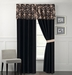 Celina Taupe and Black Curtain Set