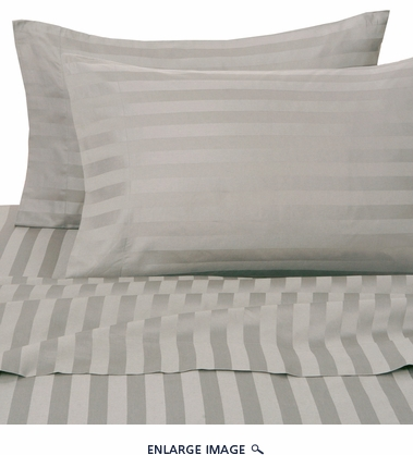 Charcoal 500 Thread Count Damask Stripe Cotton Sheet Set Queen