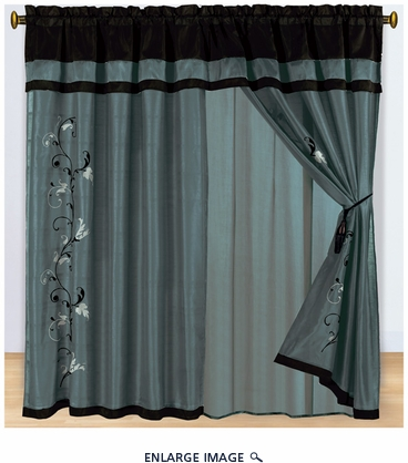 Charcoal Floral Embroidered Curtain Set w/ Valance/Sheer/Tassels