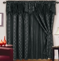 Chateau Jacquard/Satin Curtain Set Black