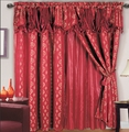 Chateau Jacquard/Satin Curtain Set Burgundy
