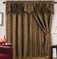 Chateau Jacquard/Satin Curtain Set Coffee