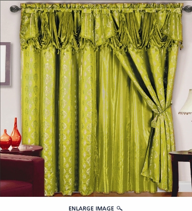 Chateau Jacquard/Satin Curtain Set Sage