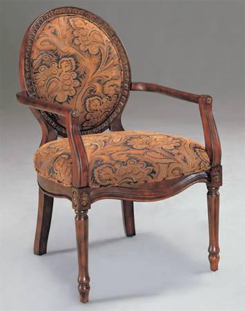 Cherry Brown Floral Print Occassional Arm Chair