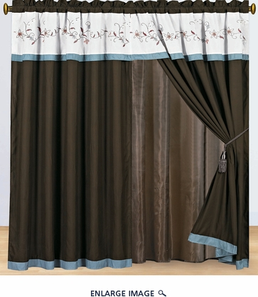 Chocolate/Blue/Ivory Embroidered Curtain Set w/ Valance/Sheer/Tassels