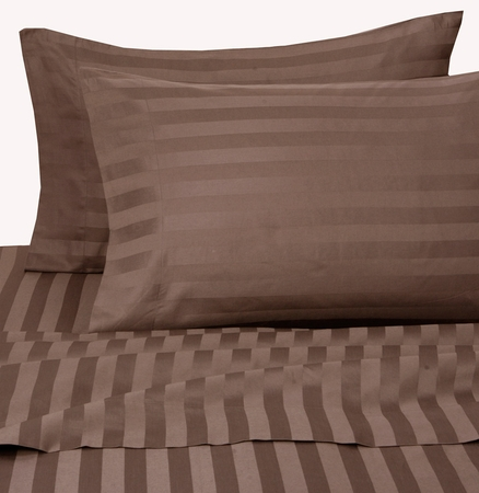 Chocolate Damask Stripe 500 Thread Count Cotton Pillowcases King