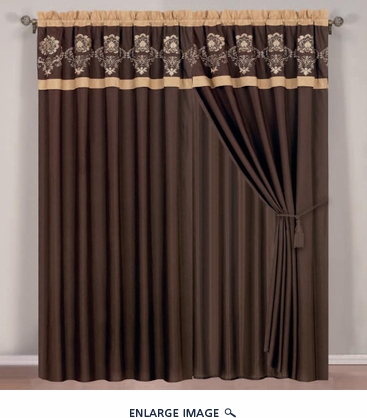 Chocolate Floral Embroidered Curtain Set w/ Valance/Sheer/Tassels