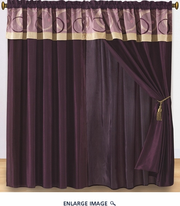 Circles and Dots Purple Embroidered Curtain Set w/ Valance/Sheer/Tassels