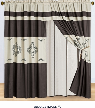 Coffee and Beige Embroidered Curtain Set w/ Valance/Sheer/Tassels