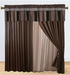 Coffee and Black Chenille Stripes Curtain Set