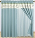 Coffee and Blue Floral Embroidered Curtain Set w/ Valance/Sheer/Tassels