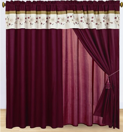 Coffee and Burgundy Floral Embroidered Curtain Set w/ Valance/Sheer/Tassels