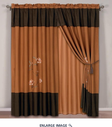 Coffee and Orange Floral Embroidered Curtain Set w/ Valance/Sheer/Tassels