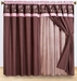 Coffee and Pink Embroidered Curtain Set w/ Valance/Sheer/Tassels