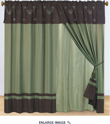 Coffee and Sage Floral Embroidered Curtain Set w/ Valance/Sheer/Tassels