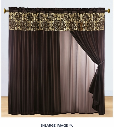 Coffee and Taupe Flocked Curtain Set
