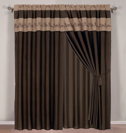 Coffee and Taupe Flocking Curtain Set w/ Valance/Sheer/Tassels