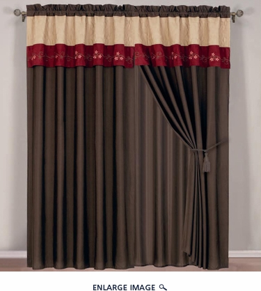 Coffee/Burgundy/Taupe Floral Embroidered Curtain Set w/ Valance/Sheer/Tassels