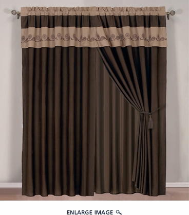 Coffee and Taupe Embroidered Curtain Set w/ Valance/Sheer/Tassels